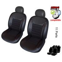 ATKKD1 - Kunstleder Auto Sitzbezug Set 11 Teilig Schwarz / Rot