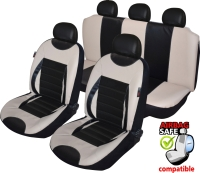ATKKD2 - Kunstleder Auto Sitzbezug Set 11 Teilig Schwarz / Beige