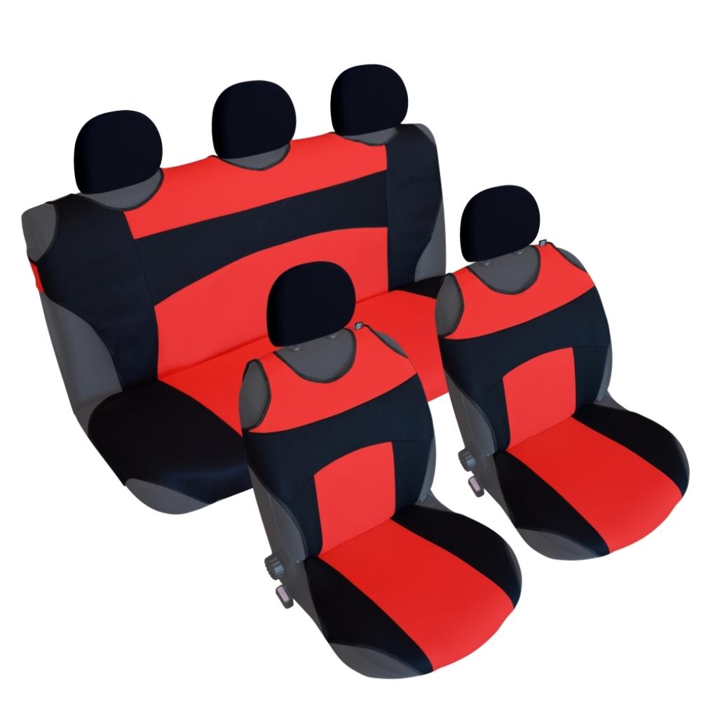 CSC301S - Sitzbezug Set T-Shirt-Design Schwarz-Rot
