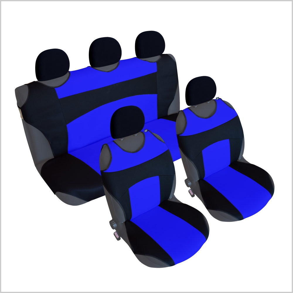 CSC302S - Sitzbezug Set T-Shirt-Design Schwarz-Blau