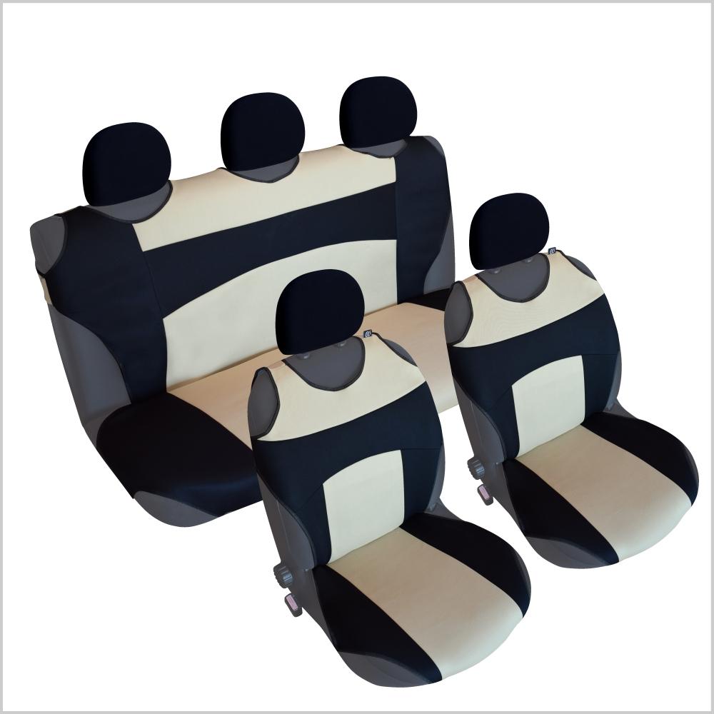 CSC303S - Sitzbezug Set T-Shirt-Design Schwarz-Beige