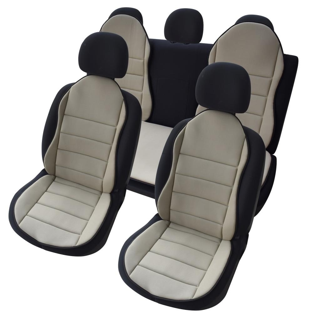 OMS1B - Auto Sitzauflage Sitzpolster 3er Set Beige New Design