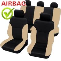 SB102 - Sitzbezug Set mit Seitenairbag Schwarz / Beige
