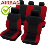 SB103 - Sitzbezug Set mit Seitenairbag Schwarz / Rot