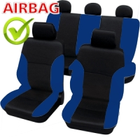 SB104 - Sitzbezug Set mit Seitenairbag Schwarz / Blau