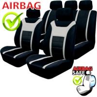 SB201 - Sitzbezug Set mit Seitenairbag Schwarz / Grau