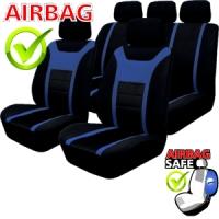 SB203 - Sitzbezug Set mit Seitenairbag Schwarz / Blau
