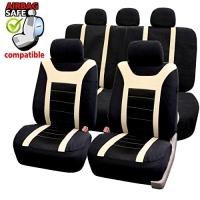 SB204 - Sitzbezug Set mit Seitenairbag Schwarz / Beige