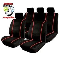 SB302 - Sitzbezug Set mit Seitenairbag Schwarz / Rot