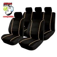 SB305 - Sitzbezug Set mit Seitenairbag Schwarz / Beige