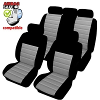 SB401 - Sitzbezug Set mit Seitenairbag Schwarz / Grau