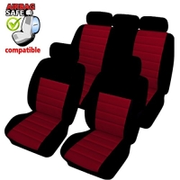 SB402 - Sitzbezug Set mit Seitenairbag Schwarz / Rot