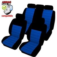 SB403 - Sitzbezug Set mit Seitenairbag Schwarz / Blau