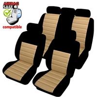 SB404 - Sitzbezug Set mit Seitenairbag Schwarz / Beige