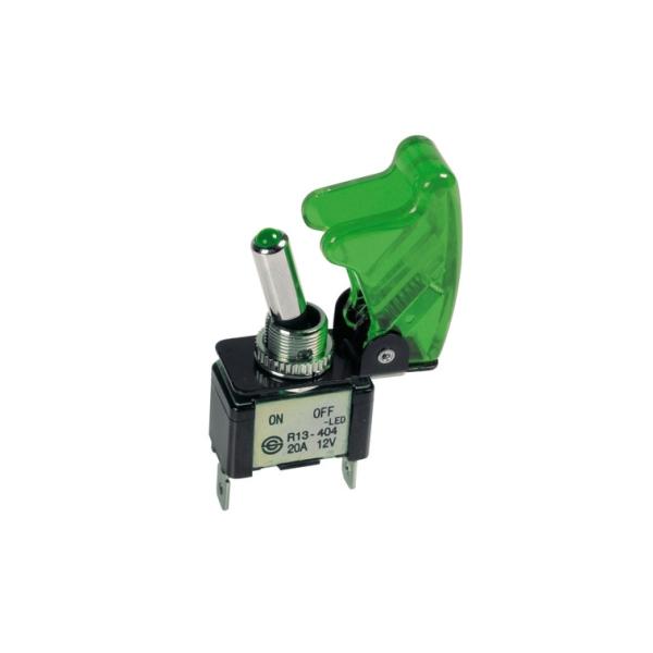 45563 - Schalter, Kippschalter, Grün beleuchtet, 12V, 20A