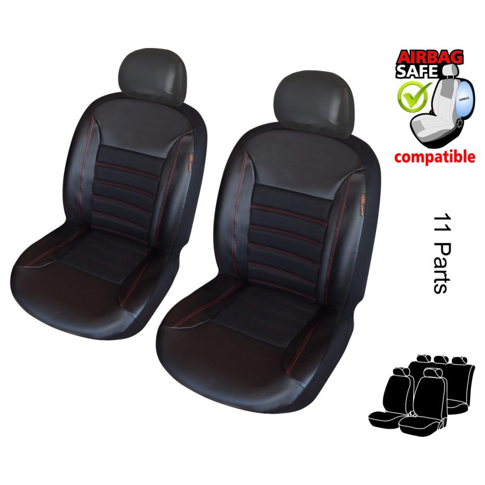 ATKKD1 - Qualität, Auto Sitzbezug Set, Schonbezug,11 Teilig Schwarz, Rot