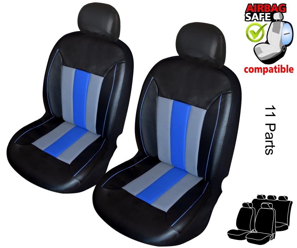 ATKKD4 - Leather Car Seat Cover set protector with SIDE AIRBAG BLACK / GREY
