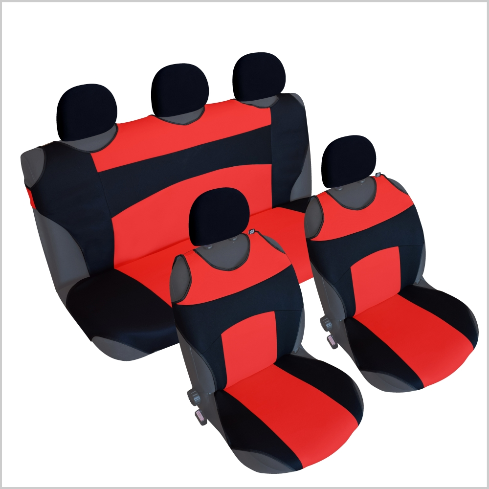CSC301 - T-Shirt Car Seat Cover , Car Seat Cushion , Car Seat Protector backrest Black / Red (1 Pair)