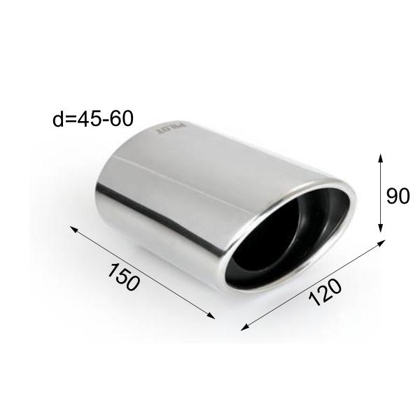 ER017 - Edelstahl Endrohr Auspuffendrohr Auspuffblende abgeschrägt Ø 45-60 mm
