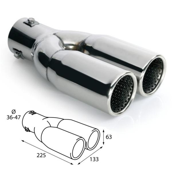 ER026 - Edelstahl Doppelrohr Auspuffblende universal 2x 225x63mm d=36-47