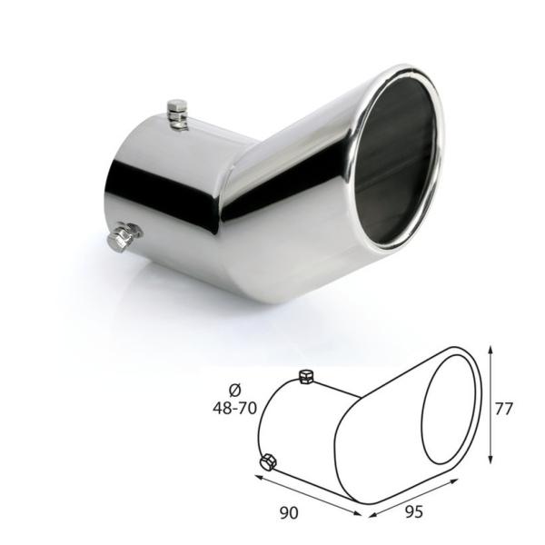 ER029 - Edelstahl Auspuffblende Endrohr zum anschrauben Ø 48-70 mm