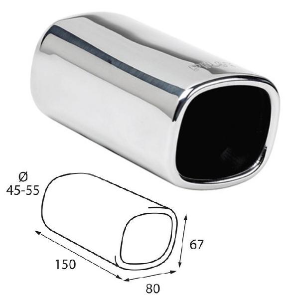 ER05 - Edelstahl Auspuffendrohr Auspuffblende universal 150x80x67mm d=45-55
