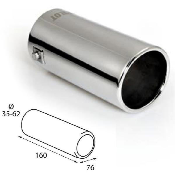 ER054 - Edelstahl Auspuffendrohr Auspuffblende universal 160x76mm d=35-62mm