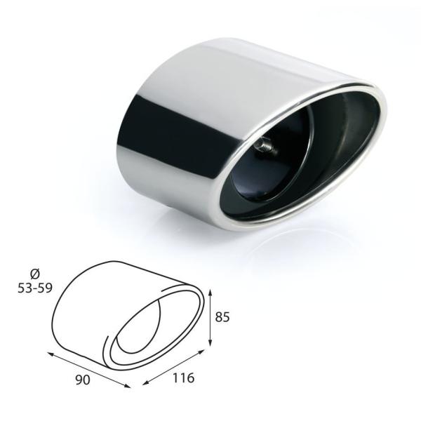 ER086 - Edelstahl Auspuffendrohr Auspuffblende universal 90x116x85mm d=53-59mm