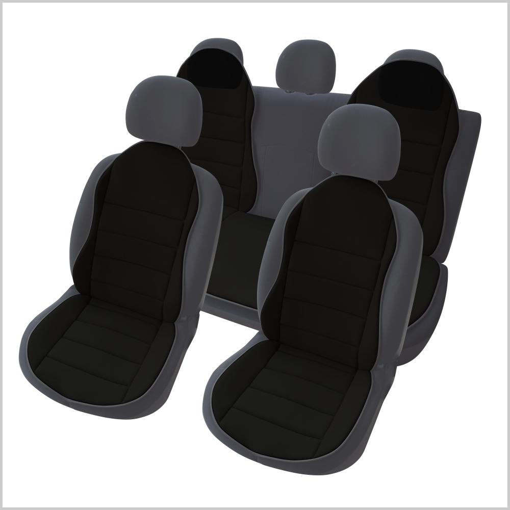 OMS1S - Auto Sitzauflage Sitzpolster 3er Set Schwarz New Design