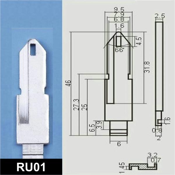 RU01 - Schlüsselrohling, Schlüsselbart
