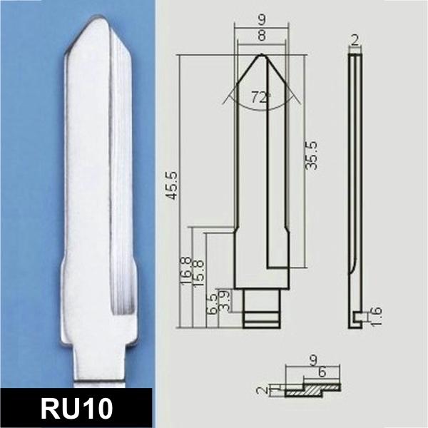 RU10 - Schlüsselrohling, Schlüsselbart