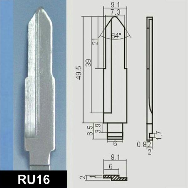 RU16 - Schlüsselrohling, Schlüsselbart