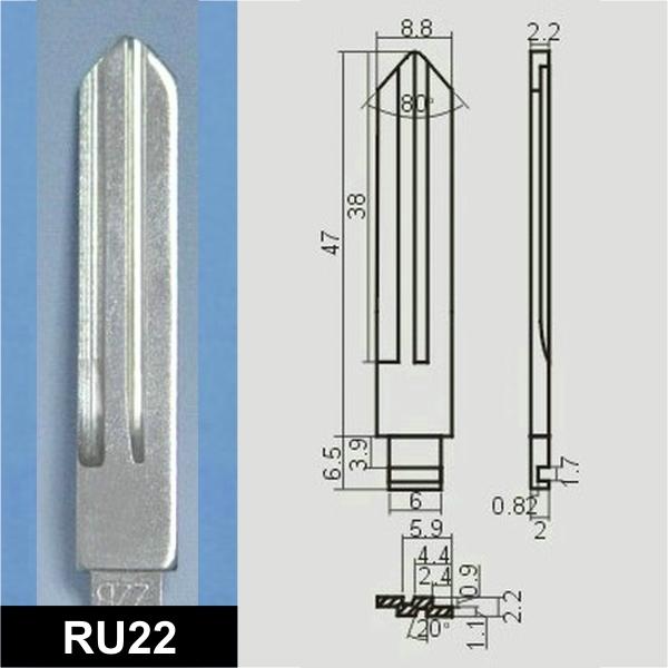 RU22 - Schlüsselrohling, Schlüsselbart