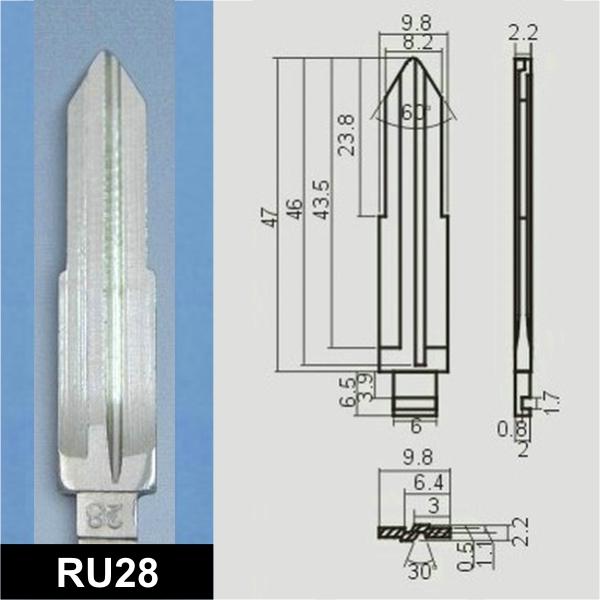 RU28 - Schlüsselrohling, Schlüsselbart