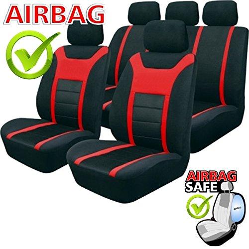 SB202 - Sitzbezug Set, für Fahrzeuge mit oder ohne Seitenairbag, Schwarz, Rot