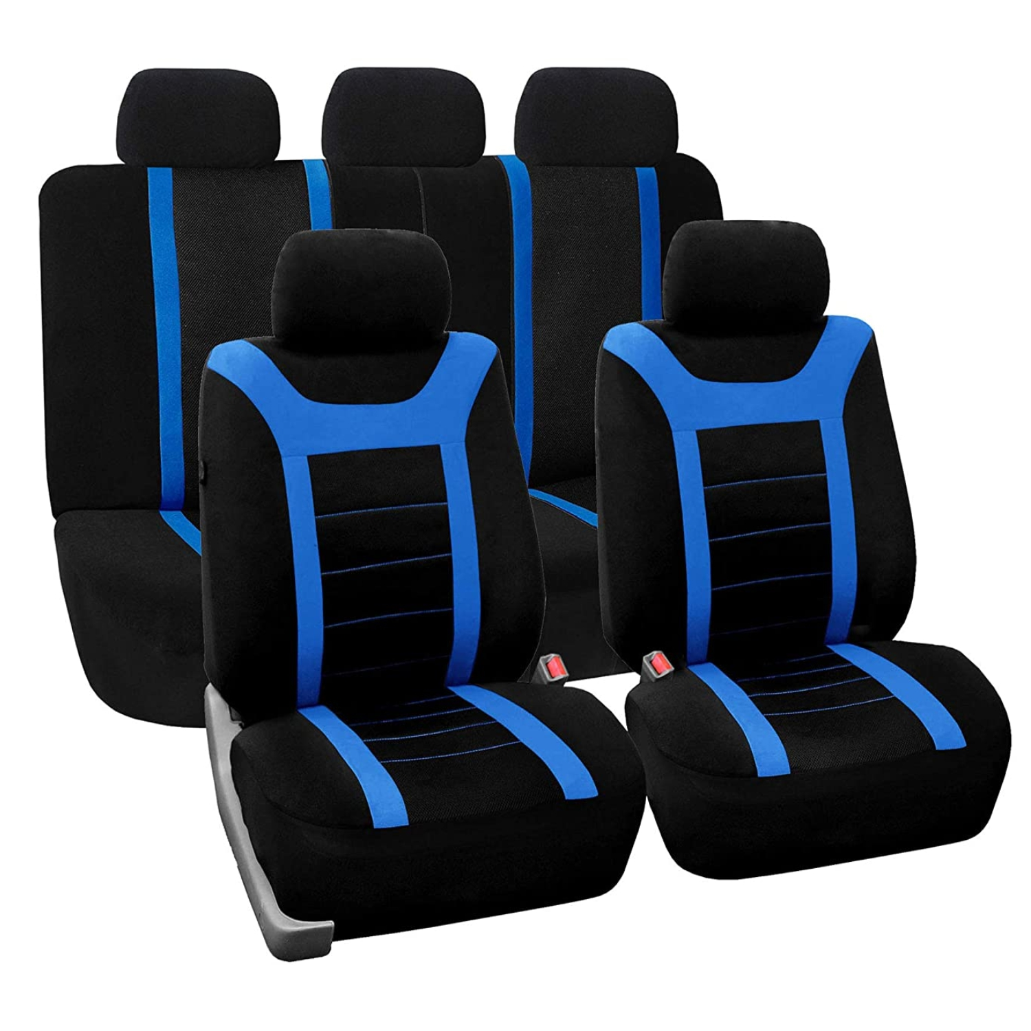 SB203 - Car Seat Cover set protector with SIDE AIRBAG BLACK / BLUE