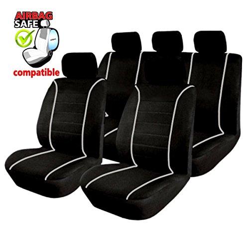 SB301 - Sitzbezug Set, für Fahrzeuge mit oder ohne Seitenairbag, Schwarz, Grau