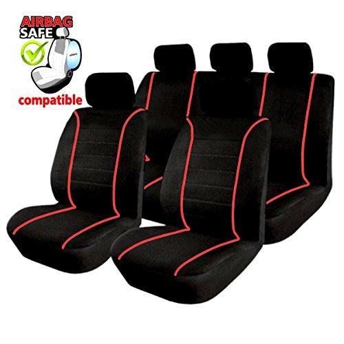 SB302 - Sitzbezug Set, für Fahrzeuge mit oder ohne Seitenairbag, Schwarz, Rot