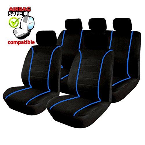SB303 - Sitzbezug Set, für Fahrzeuge mit oder ohne Seitenairbag, Schwarz, Blau