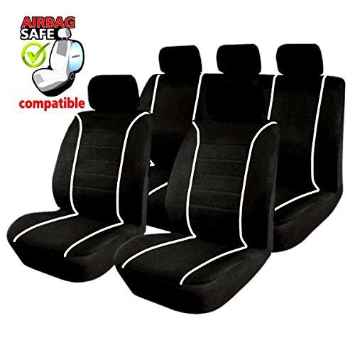SB304 - Sitzbezug Set, für Fahrzeuge mit oder ohne Seitenairbag, Schwarz, Weiss