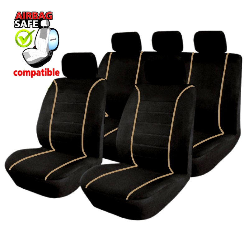 SB305 - Car Seat Cover set protector with SIDE AIRBAG BLACK / BEIGE