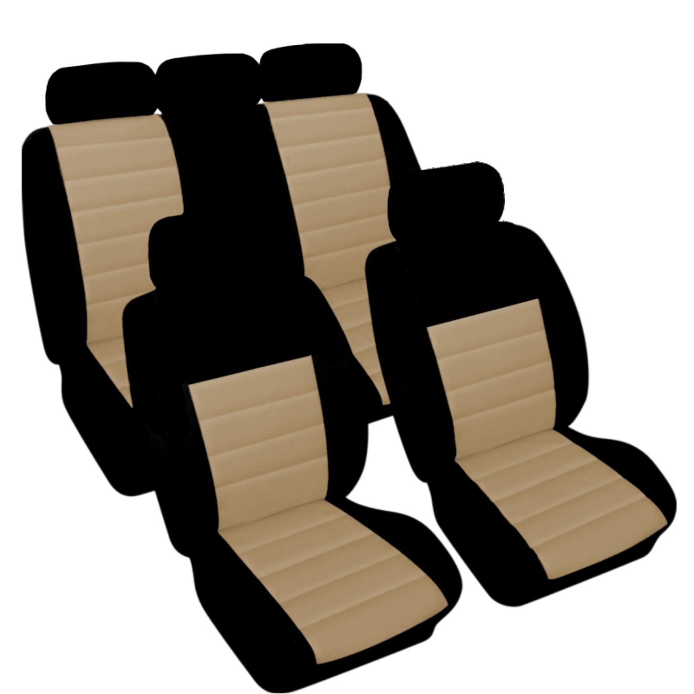 SB404 - Sitzbezug Set, für Fahrzeuge mit oder ohne Seitenairbag, Schwarz, Beige