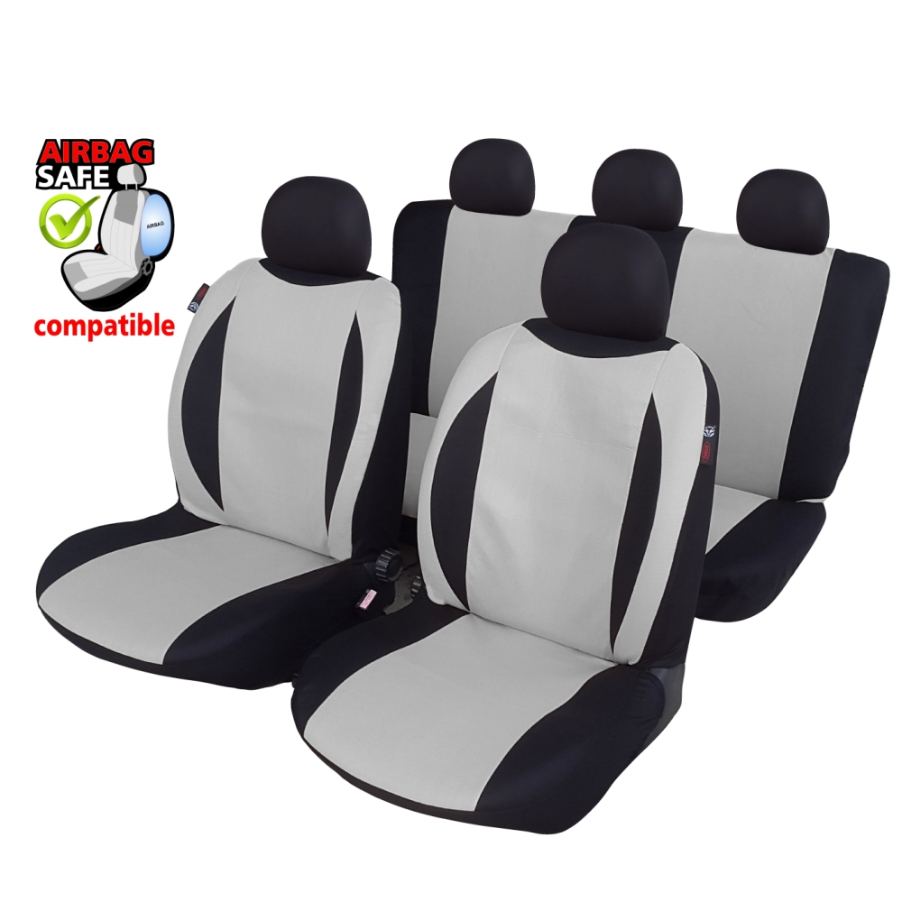 SB601 - Car Seat Cover set protector with SIDE AIRBAG BLACK / GREY