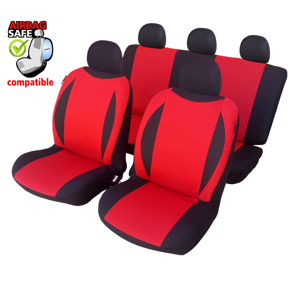 SB602 - Car Seat Cover set protector with SIDE AIRBAG BLACK / RED
