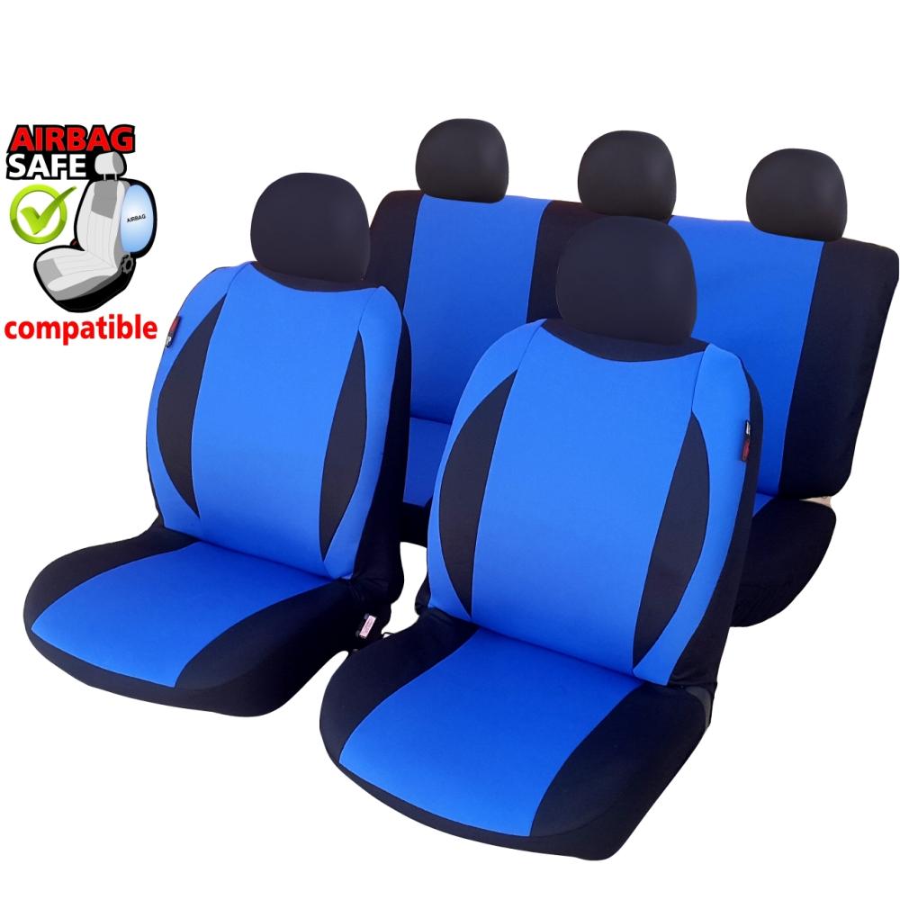 SB603 - Sitzbezug Set, für Fahrzeuge mit oder ohne Seitenairbag, Schwarz, Blau