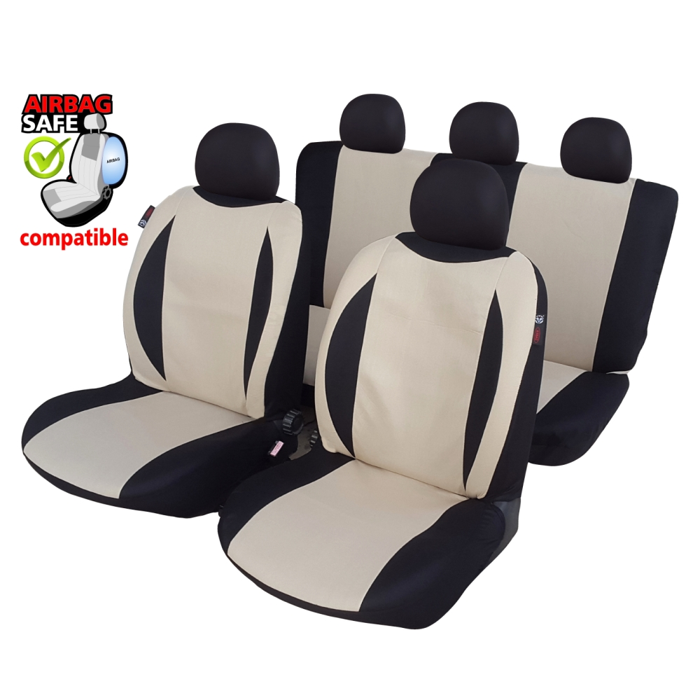 SB604 - Car Seat Cover set protector with SIDE AIRBAG BLACK / BEIGE
