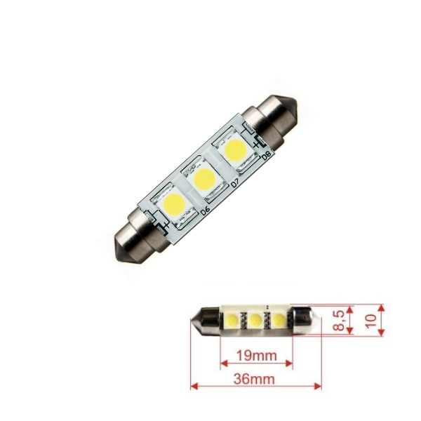 S36C3W Led Lampe Weiss, Soffitte C5W, 36mm 12V, ohne